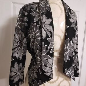Floral Cropped Black and White Blazer
